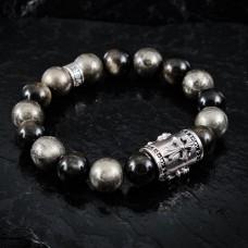 Armband Kreuz Pyrit/Obsidian